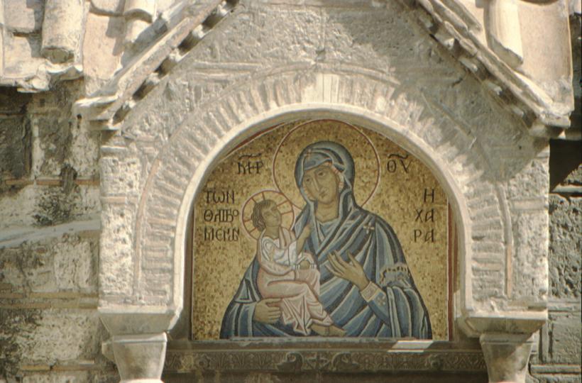 Athens, mosaic: Madonna