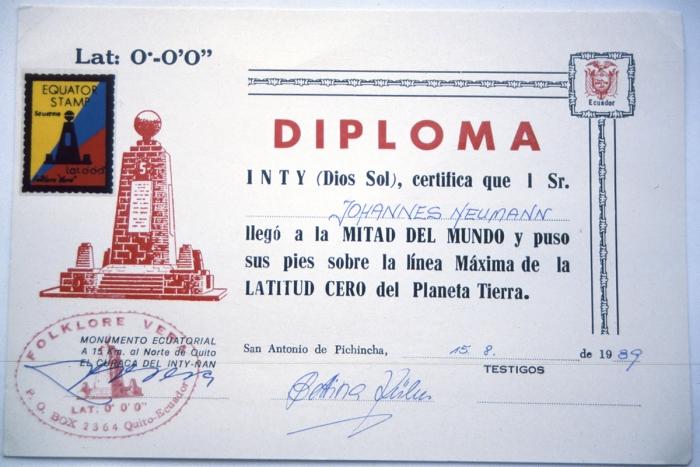 Equator diploma 15.8.1989