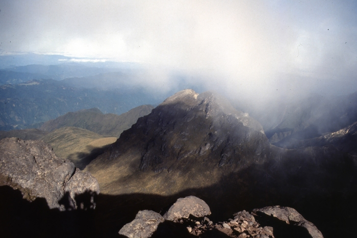 Volcano Pichincha, morning fog in the crater